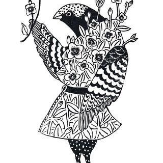 鳥と花(アカバナユウゲショウ)