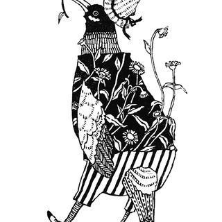 鳥と花(ペラペラヨメナ)